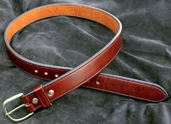 M-18 Lined Dress Leather Belt for concealed carry use or dress wear.  Double thickness stitched leather belt.