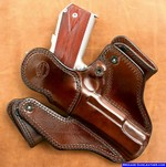 M-11 Concealed carry holster, rear leather guard covers the hammer and pistol metal from contacting your body.